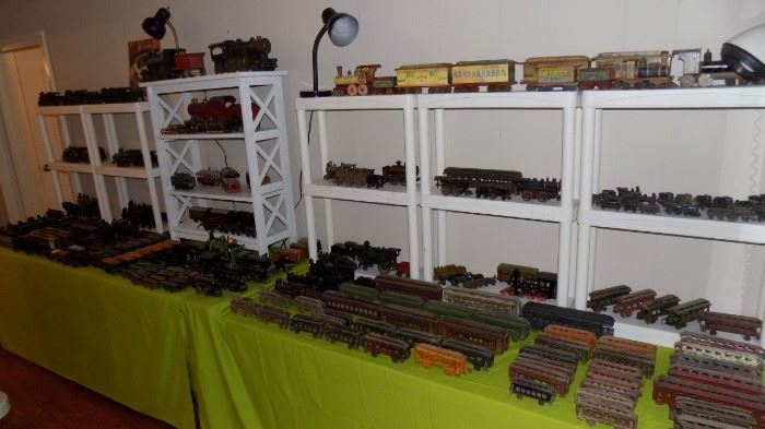 Cast iron trains...engines/cars/large/small...come see!