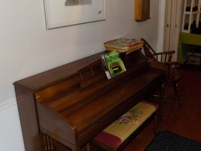 Kimball Spinet Piano with needlepoint bench