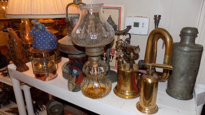 vintage lamps and brass items