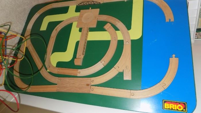 Brio wooden train table top...and lots of extra track/trains priced separately