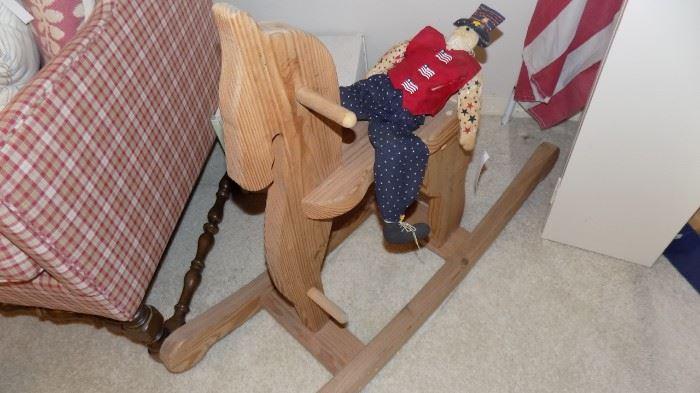 handmade wooden rocking horse