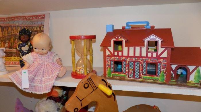Fisher Price vintage cottage....vintage Kewpie doll...vintage toyss