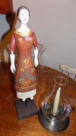 repro wooden doll and candle stick