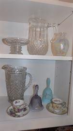 vintage glass pitchers....Fenton bell,  tea cups