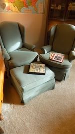 pair swivel rockers with matching ottoman