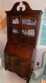 vintage drop front secretary with storage
