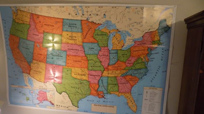 vintage wall map