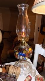vintage lamp filled with marbles
