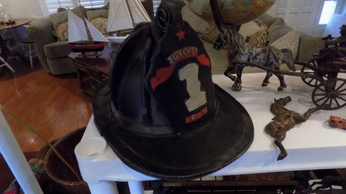 vintage firemans helmet
