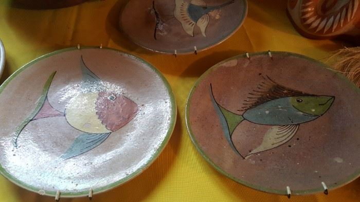 Mexican pottery fish plates