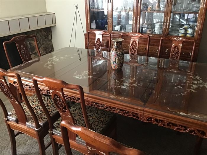 Rosewood Pearl Inlaid Dining Table