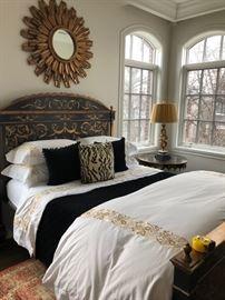 Bedroom suite - queen Ebanista  bed - $1300, mattress - $200, bedding (not sleeping pillows) - $150, mirror - $400