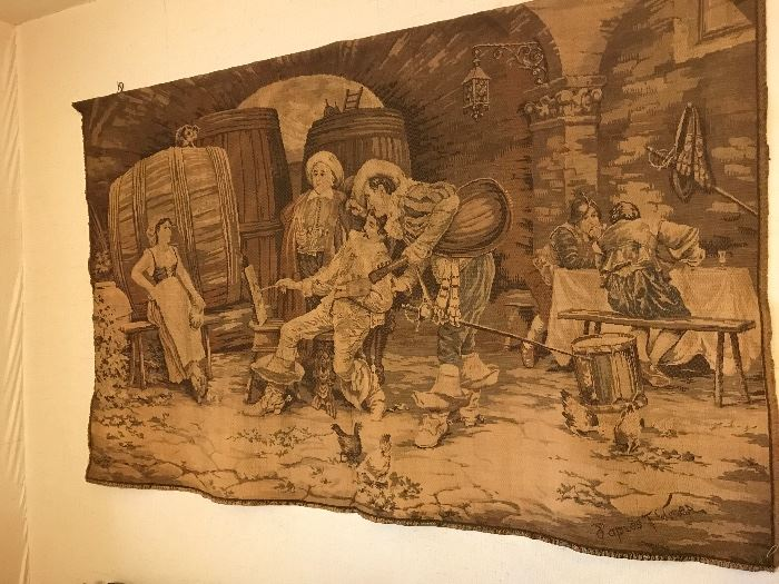 """1900's Tapestry - """"Artist in Tavern"""" by D'apres F. Finea"""