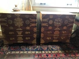 2 wonderful burl chest with Asian brass motif including pins.  Wonderful wool rugs