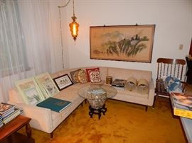 Mid Century Sectional, Lamps, Decor