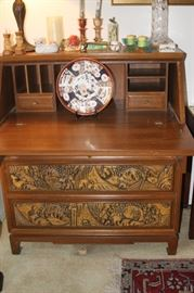 Hand carved drop down Asian desk.