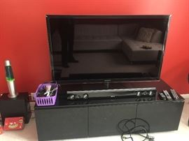 """Samsung 50"""" TV with sound system and Cabinet"""