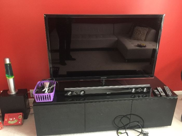 "Samsung 50"" TV with sound system and Cabinet"