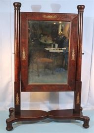 098a  Mahogany Empire cheval mirror with bronze mounts, 69.5 in. T, 47.5 in. W, 18 in. D.