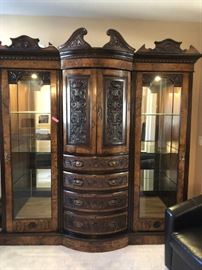 Gorgeous carved lighted display cabinet