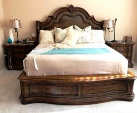 Polaski Furniture King Bedroom Set with marble topped dresser and end tables, Exquisite burlwood!