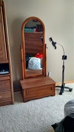 Storage piece with tall mirror