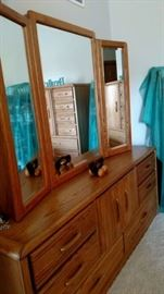 Triple dresser with mirrors
