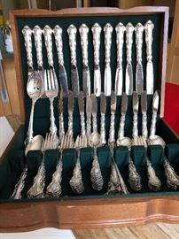 """Sterling flatware for 12 by Reed and Barton """"Florentine Lace."""""""