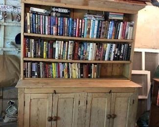 BOOKS IN EVERY corner!! Irish vintage cabinet