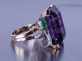 ~25 CT Deep Purple Amethyst, Emerald, Diamond Estate Ring; 14k
