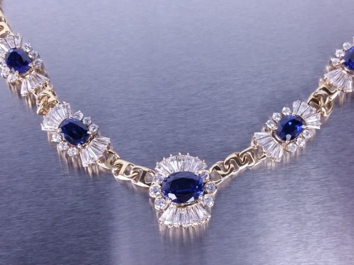 Blue and White Sapphire Estate Necklace; 18k