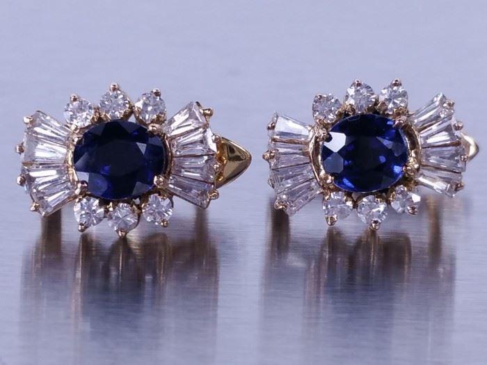 Blue and White Sapphire Estate Earrings; 18k