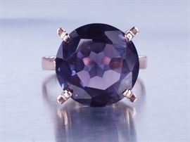 5 CT Purple Color Changing Sapphire Estate Ring; 14k
