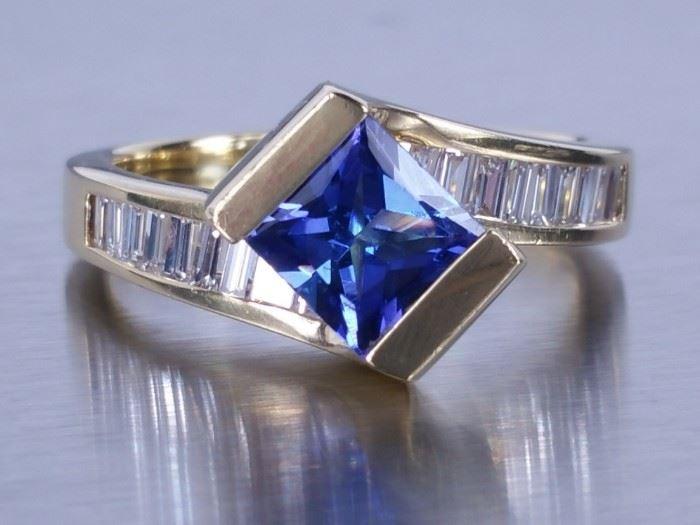 Dehago Tanzanite and Diamond Estate Ring; 18k