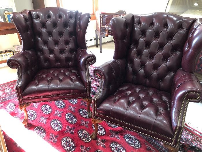 Pair top quality leather tufted wing chairs