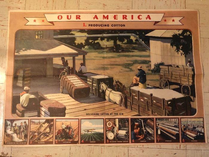 OUR AMERICA 1943 DECO COCA COLA EDUCATIONAL SERIES - COTTON  POSTER