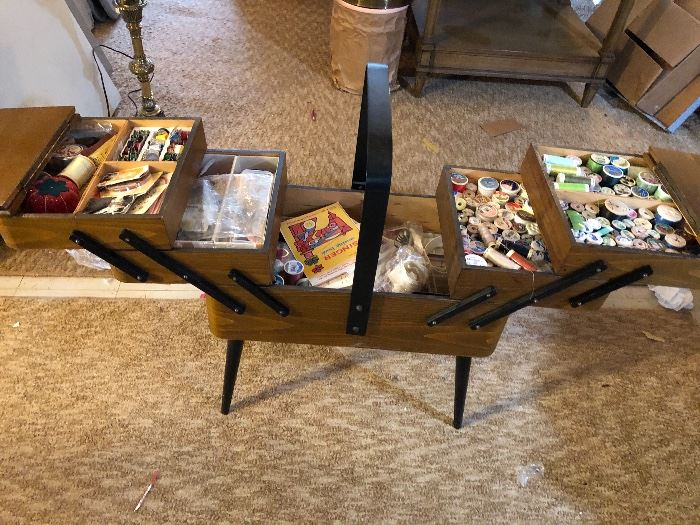 wonderful vintage sewing chest