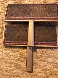 VINTAGE OLD WHITTEMORE WOOL COTTON CARDERS PADDLES #10 L. S. WATSON & COMPANY