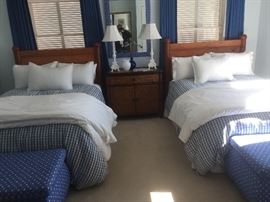 Pair of full size bed frames with mattresses, can be bought separetly or as a pair. Bedding available.