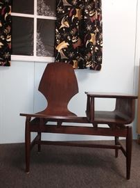 MCM Danish Telephone Table , Mid Century Atomic Curtains and fabrics
