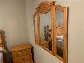 Pine Carved Folding Wall Mirror