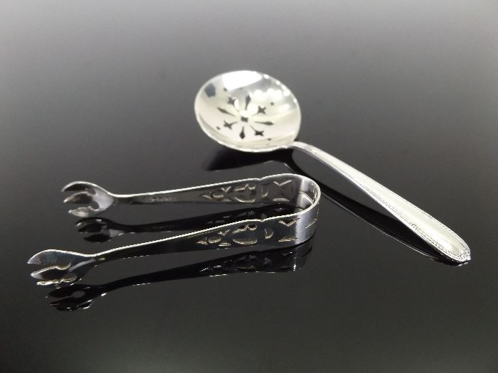 Set of Antique .925 Sterling Silver Condiment Spoon and Tongs
