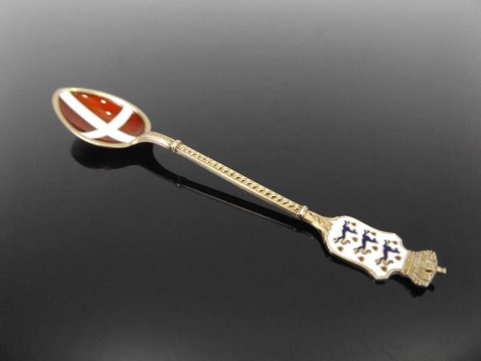 Vintage .925 Sterling Silver Enamel Denmark Souvenir Spoon