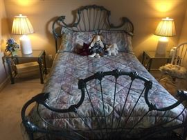Check out this incredible green wrought iron bed with matching night stands!