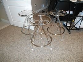 4 lucite and chrome stools