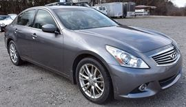 8PM: Estate Auto: 2013 Infinity G37x Sport Sedan, with Silver-metallic Exterior, Black Leather Ineterior with Burlwood Trim; 77,858 Miles; AWD; ABS; Power Everything, including Power Moonroof; Remote Keyless Entry; Push Start/Off; In-Dash Navigation/Info Screen; Dual Climate Controls; Heated Front Seats; AM/FM Stereo with Satellite/CD/MP3/Bluetooth, and More! VIN: JN1CV6AR5DM760618 Vehicle Terms - Vehicles are sold AS IS, in AS FOUND/ESTATE condition. - Minimum of 10% deposit due on day of auction. May be paid with Cash, Check, VISA, MC, Debit. - Balance paid in full by Thursday following. Must be paid with Cash or Certified Bank Check ONLY