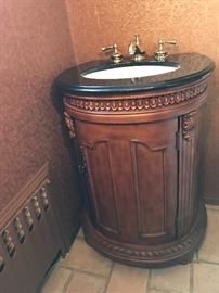 Bathroom vanity with marble top & plumbing fixtures