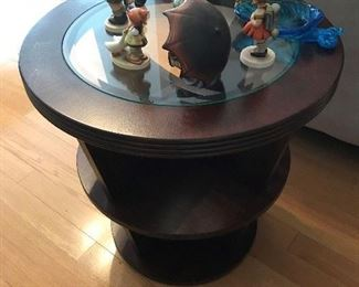 Wood / Glass top Round end table $ 68.00