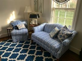 Custom Love seat and chair - designer curtains, lamps by Ralph Lauren and Virginia Metal Crafters