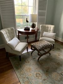 NEW Pottery Barn Rug (I just unwrapped it), super cute leopard ottoman, lounge chairs and a dreamy demi lune table.
